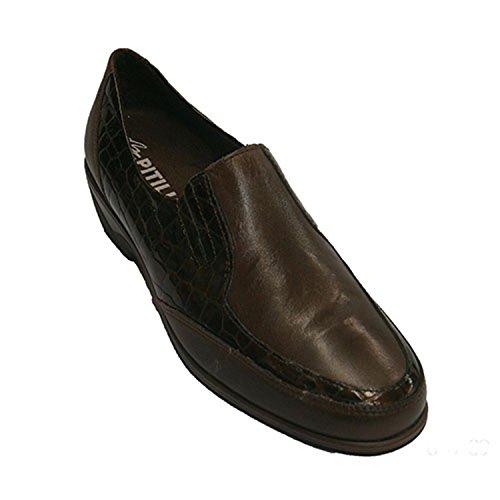 Pelle coco combinato e brevetto scarpe di cuoio Pitillos marrone taille 38