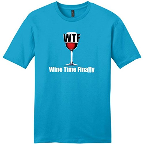 WTF Wine Time Finally Young Mens T-Shirt 2XL Light Turquoise