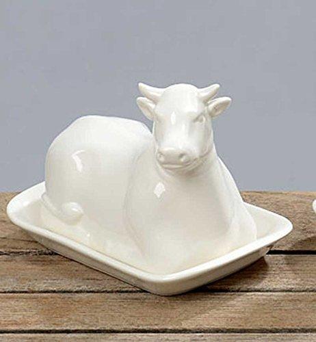 butterdose kuh länge 17 cm keramik weiß butterbehälter  ~ Geschirr In Spülmaschine Milchig