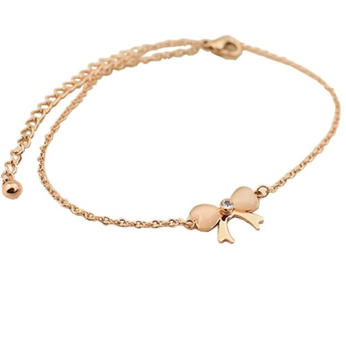 PlusMinus Women's 316L Stainless Steel Fashion Cute Ribbon Bow Opal & Rhinestone Gift Anklets Rose Gold