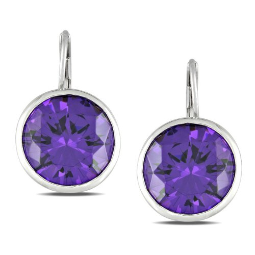 Sterling Silver 28 7/8 CT TGW Purple Cubic Zirconia Stud Earrings