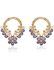 I Jewels Traditional Gold Plated American Diamond Earrings For Women EC107BL (blue)