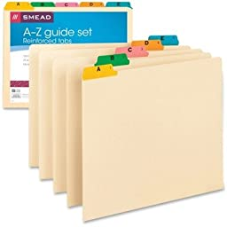 A-Z Top Tab Recycled File Guides, Manila with Color Vinyl 1/5 Tabs, Letter, 25/Set (SMD50180)