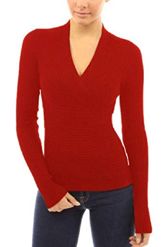 Booty Gal Womens V Neck Crop Plunging Cross Stretch Knitwear Blouse Top ((US 12-14)L, Red)