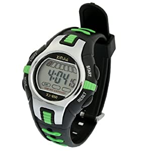 Como Black Green Plastic Adjustable Wristband Digital Sports Watch for Children