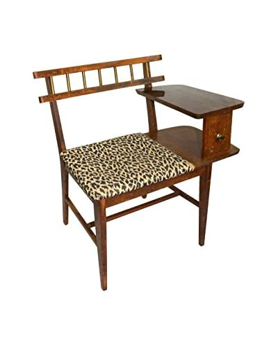 Aviva Stanoff Leopard Print Chair With Cocktail Side Table, Natural