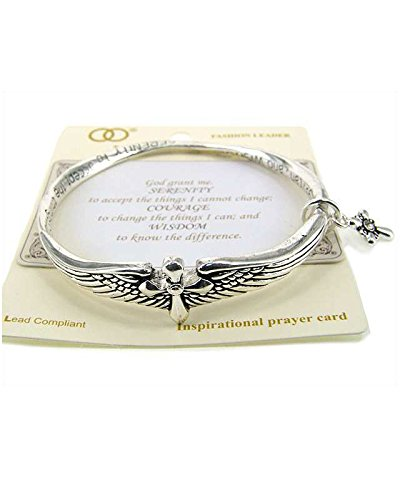The Serenity Prayer Engraved Angel Wing with Cross Charm Twist Bangle Bracelet by Jewelry Nexus