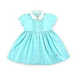 cherry crumble california Girls' Dress (WS-KA-0258-6, Blue, 5-6 Years)