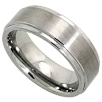 Tungsten 8 mm (5/16 in.) Comfort Fit Flat Wedding Band Ring Brushed Finish, Grooved Edges (Available in Sizes 7 to 14) size 8 1/2