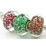 Warm Cranberry, Holly Green, and Cinnamon Bubble Murano Glass Beads Set with Solid Sterling Silver Single Core Stamped 925 Fit Pandora Biagi Chamilia Troll Bracelets