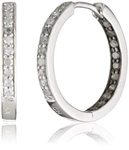 Sterling Silver Diamond Hoop Earrings, (.5 cttw, H-I Color, I3 Clarity) from Amazon Curated Collection