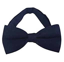 SYAYA Male Men\'s boy\'s Classic Pre-Tied Formal Tuxedo Mens boys bow Tie Bowtie Jacquard Ties Adjustable Party Wedding Necktie MLJ01 (Dark Blue)