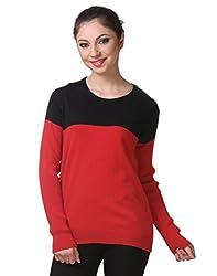 Kalt Women's Cotton Sweater(W104 XS_Red::Black_X-Small)