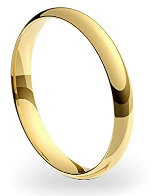 The Online Jewellers New 18ct 375 Yellow Gold 3mm Court Shape Wedding Ring Band Solid and UK Hallmarked