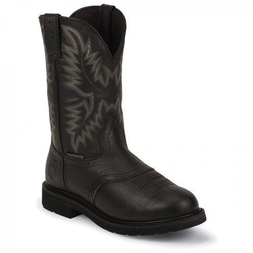 Justin Men's Stampede Work Boot Steel Toe Black 8.5 EE US