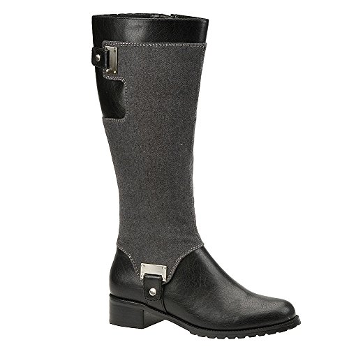 Bella Vita Women'S Anya Ii Riding Boot,Black/Amp Grey Flannel,12 M Us