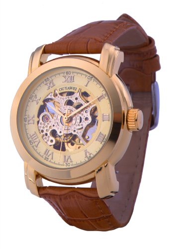 Ouyawei Men'S Round Hollow Gold Dial Golden Bezel Brown Leather Band Water-Proof Mechanical Watches