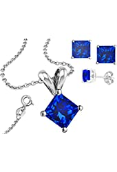 925 Sterling Silver Princess Cut Tanzanite Pendant and Earrings Combo Gift Set...