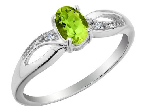 Peridot Ring with Diamonds 1/2 Carat (ctw) in 10K White Gold