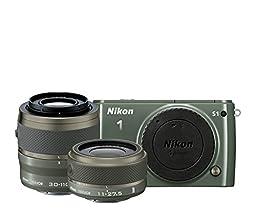 Nikon 1 S1 10.1 MP HD Digital Camera System with 11-27.5mm VR and 30-110mm VR 1 NIKKOR Lenses (Khaki)