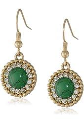 "NINE WEST VINTAGE AMERICA ""Royal Treasure"" Gold-Tone Green Mini Drop Earrings"