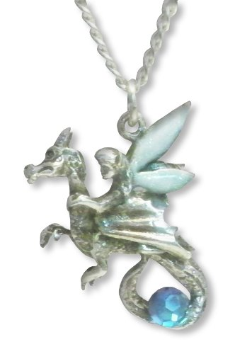 Pixie Fairy Riding Dragon with Blue Faceted Crystal Ball Pendant Necklace Pewter Fashion Jewelry