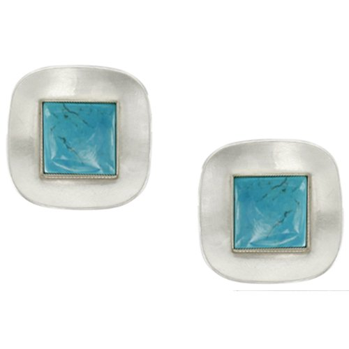 Marjorie Baer Silver and Turquoise Clip on Earring