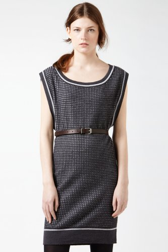 Sleeveless Graphic Jacquard Sweater Dress