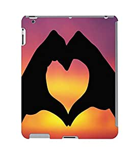 Fuson 3D Printed Hand Making A Heart Designer Back Case Cover for Apple iPad Air 2 - D664