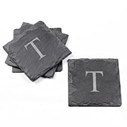 Cathy\'s Concepts Personalized Slate Coasters, Set of 4, Letter T