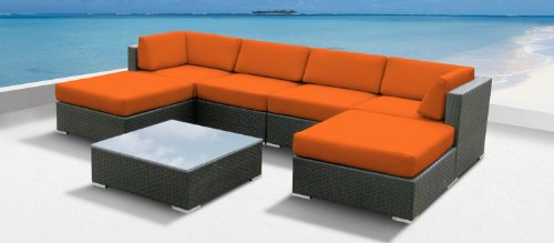 Luxxella Outdoor Patio Wicker MALLINA Sofa Sectional Furniture 7pc All Weather Couch Set ORANGE