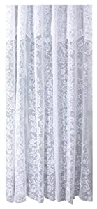 Ricardo Romance Lace White Lace Fabric Shower Curtain With An Attached Valance, 72 X 72 Long