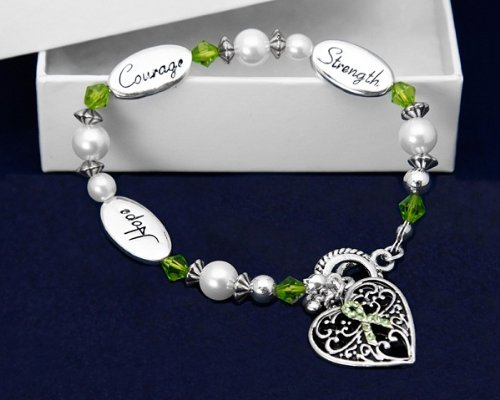 Lime Green Ribbon Bracelet- Hope, Strength, Courage (18 Bracelets)