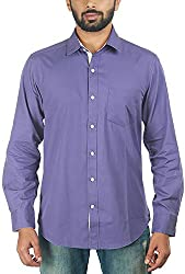 Lapilvi Men's Slim Fit Casual Shirt (lpb0008_indigo blue_large, Blue, Large)