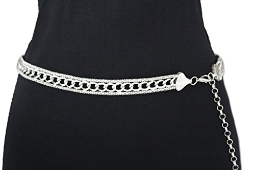 "TFJ Women Fashion Narrow Belt Metal Wide Chain Skinny Low Hip Waist Silver S M L Xl (Plus Size M-xl (30""-45""), Silver)"