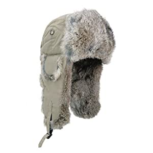 Mad Bomber Supplex Bomber Hat with Brown Fur, Khaki, Small