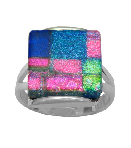 Sterling Silver Dichroic Glass Multi-Color Pastel Square-Shaped Ring, Size 6.5
