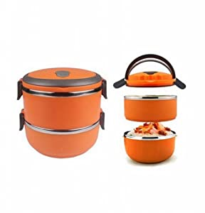 two layers stainless steel school bento lunch box lunchbox food storage container orange amazon. Black Bedroom Furniture Sets. Home Design Ideas