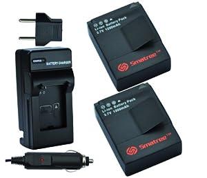 Smatree Battery(1200mAh x 2 Packs) and Charger kits for GoPro HD HERO3,AHDBT-201,AHDBT-301