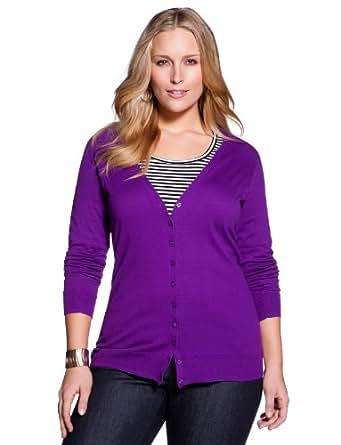 eloquii Essential V-Neck Cardigan Women's Plus Size Violet 22/24