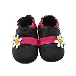 Sayoyo Baby Cute Flower Soft Sole Leather Infant Toddler Prewalker Shoes
