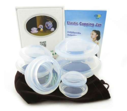4 Cup Premium Transparent Silicone Cupping Set for Chinese Cupping and Massage Therapy (Chinese Cups compare prices)