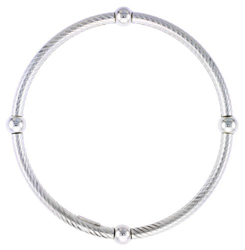 Kids Size Sterling Silver Stretch Bangle 4 Section Spiral Textured.
