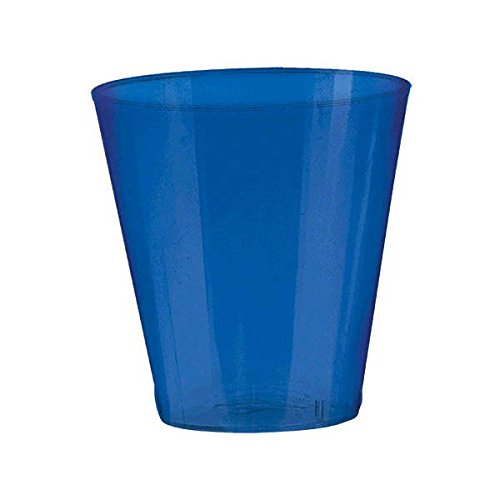 Amscan Big Party Pack Bright Plastic Shot Glasses, 2 oz., Royal Blue