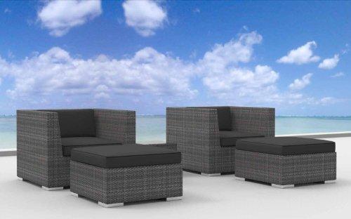 Unique Urban Furnishing Curacao pc Modern Outdoor Backyard Wicker Rattan Patio Furniture Sofa Chair Couch Set