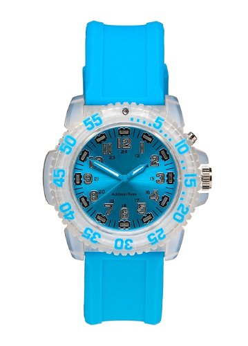 Addison Ross Unisex Quartz Watch with Blue Dial Analogue Display and Blue Silicone Strap WA0302