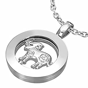 Fashion Alloy Aries Zodiac Sign Inner-roller Circle Pendant