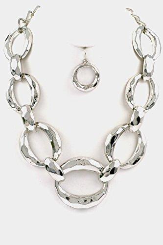 Trendy Fashion Jewelry Hammered Chain Necklace Set By Fashion Destination | (Rhodium)