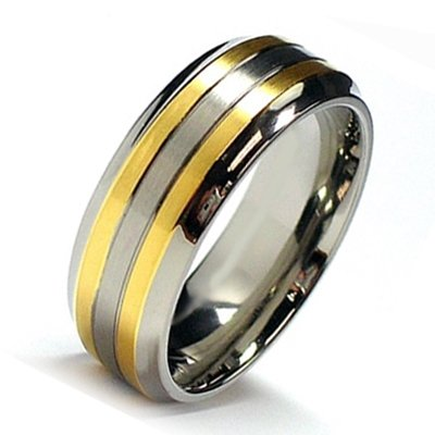 Titanium Mens Ring 2 18k Gold Plated Lines Ring Wedding Band Designer Fashion Engagement Ring (11)