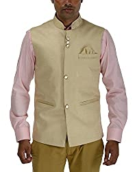 Panache Jute Men's Nehru Jacket (Cream,38)
